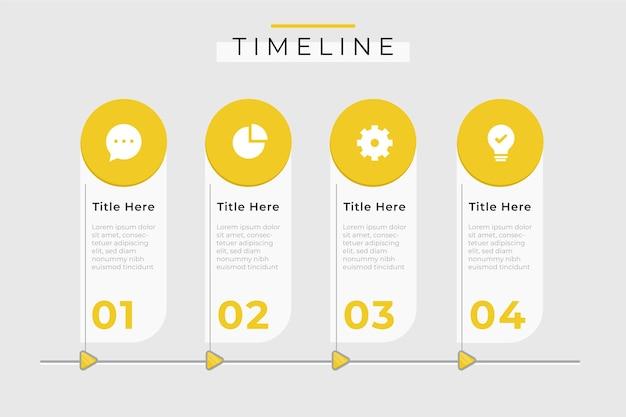 Monochroom tijdlijn infographic sjabloon