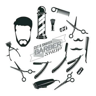 Monochroom vintage barber shop elementen concept