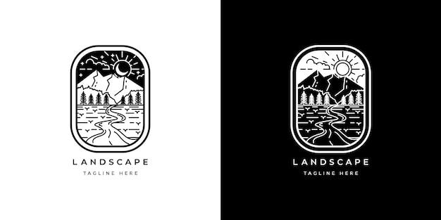 Monochroom vintage monoline-badge met berglogo