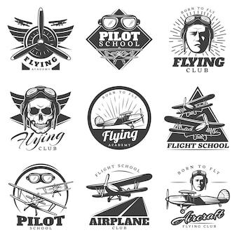 Monochroom vliegtuigen logo's set