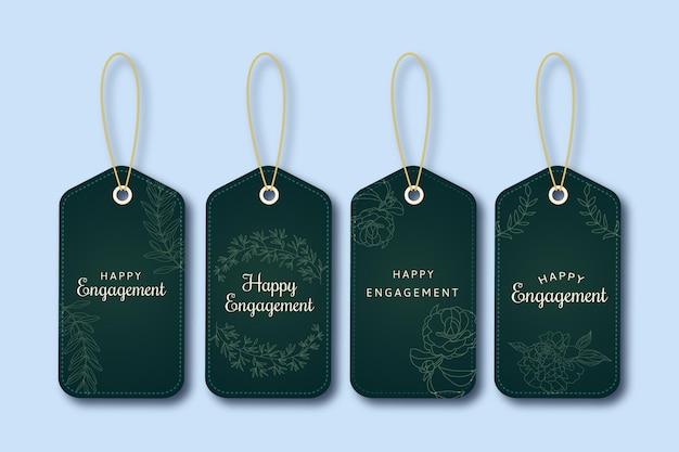 Monocolor happy engagement groen cadeaulabel