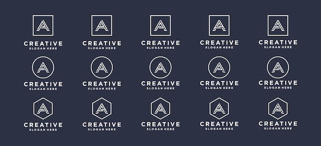 Monogram, abstract, brief, eerste a-logo-ontwerp.