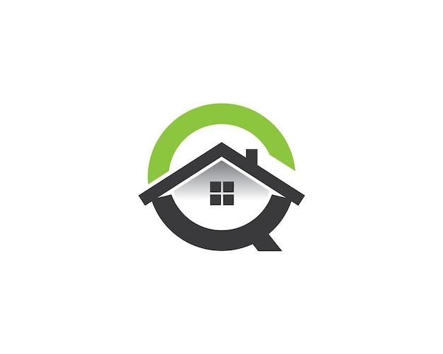 Monogram anagram lettermark logo van letter coq met dakraam en huis erin
