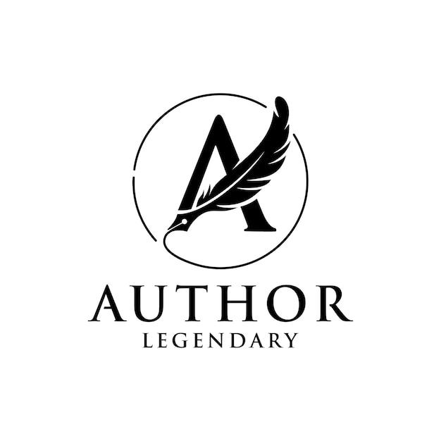Monogram beginletter a met veren pen voor auteur logo ontwerpsjabloon