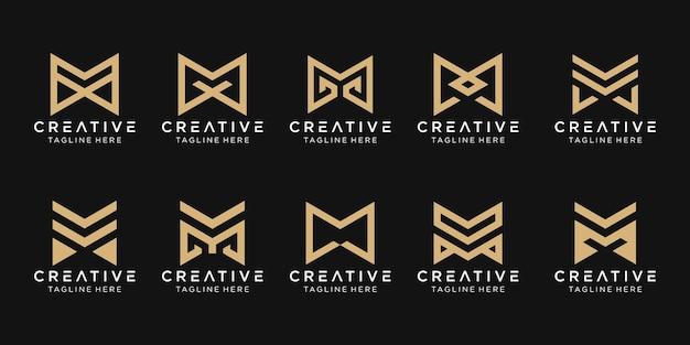 Monogram beginletter m logo pictogram decorontwerp iconen voor zaken van mode bouwtechnologie