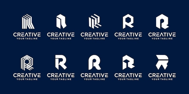 Monogram beginletter r rr logo icon decorontwerp voor zaken van mode bouwtechnologie