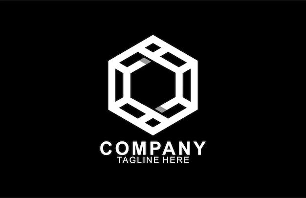Monogram eenvoudig zeshoekig lineair logo