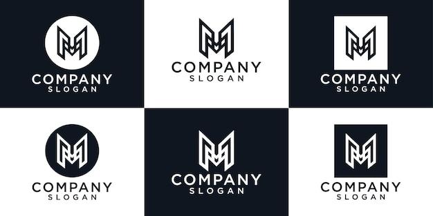Monogram eerste m brief typografie logo ontwerp