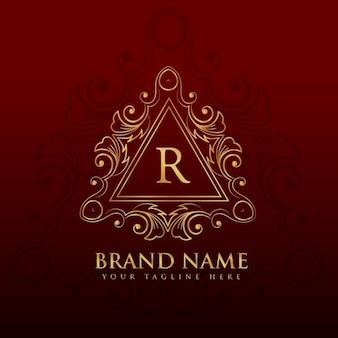 Monogram grenskader logo ontwerp voor letter r