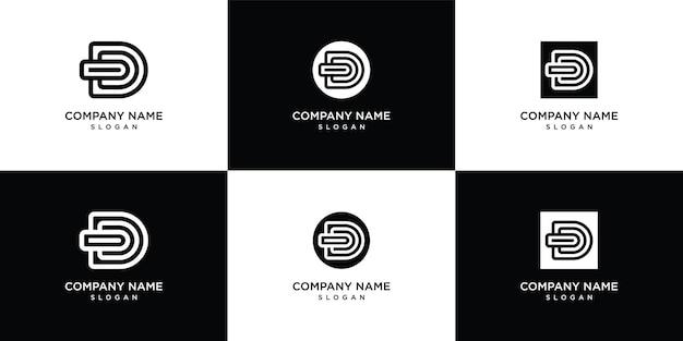 Monogram letter d logo sjabloon instellen