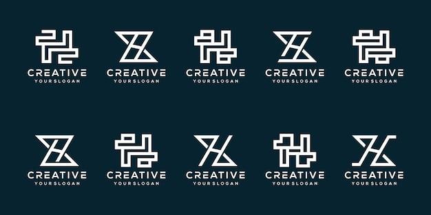 Monogram letter h logo-sjabloon instellen
