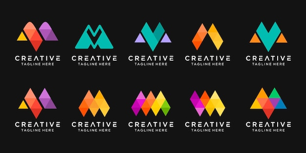 Monogram letter m logo icon set design iconen voor zaken van mode sport digitale technologie