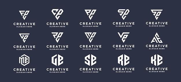 Monogram lettermark logo-ontwerp instellen voor persoonlijk merk, bedrijf, bedrijf.