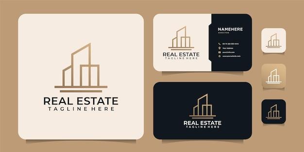 Monogram lijn onroerend goed gebouw appartement logo ontwerpelementen voor industriële bouw