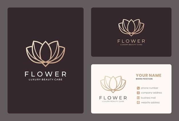 Monogram lotus logo ontwerp met sjabloon voor visitekaartjes.