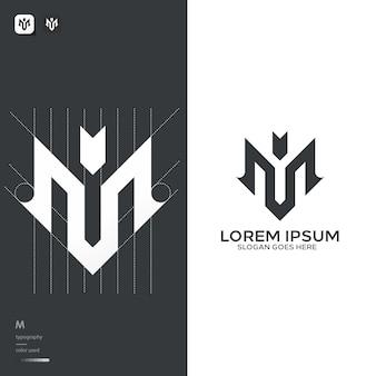Monogram m logo sjabloon