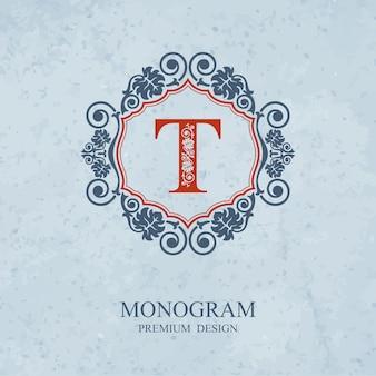 Monogram ontwerpelementen, kalligrafische sierlijke sjabloon, brief embleem t,