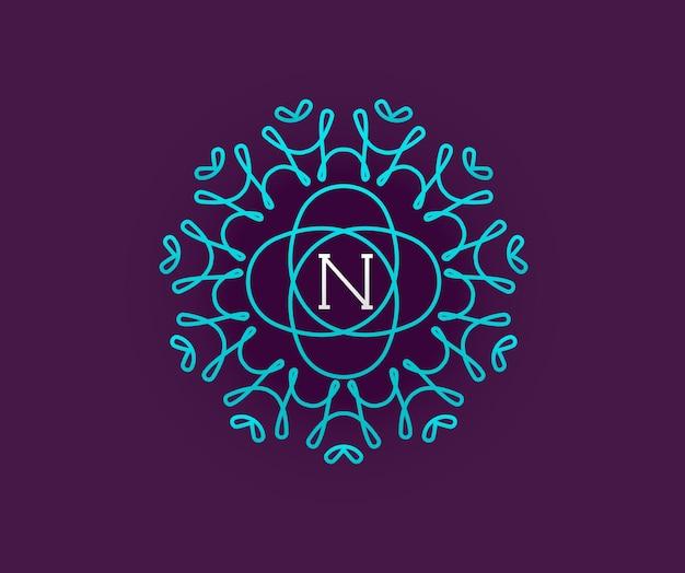 Monogram ontwerpsjabloon met brief in vector. premium elegante kwaliteit turquoise op violet met witte letter.
