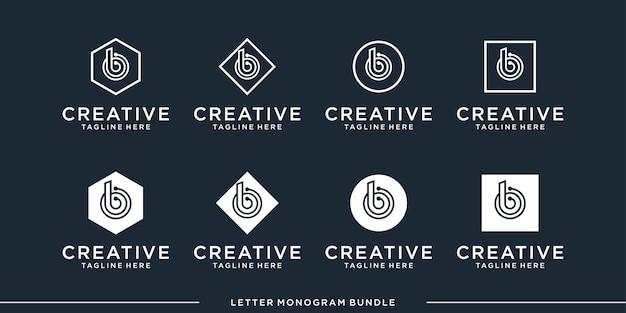 Monogram pictogram eerste b logo ontwerpsjabloon instellen
