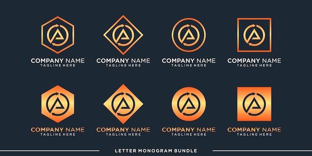 Monogram pictogram initiaal een logo ontwerpsjabloon instellen,