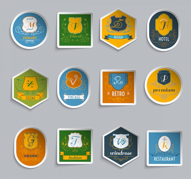 Monogram schilden stickers instellen