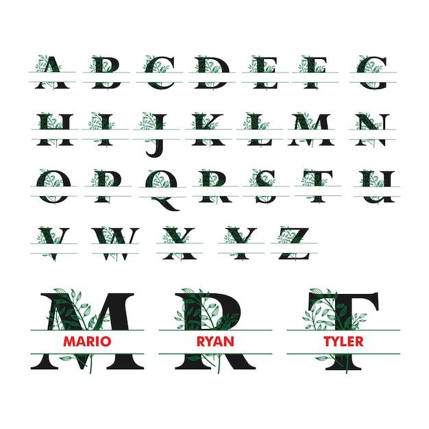 Monogram split letter alfabet met bloemen illustratie