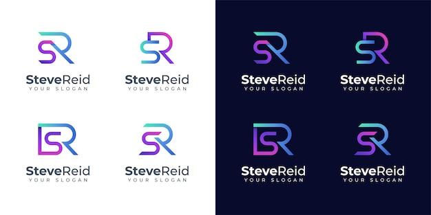 Monogram sr-logo ontwerp