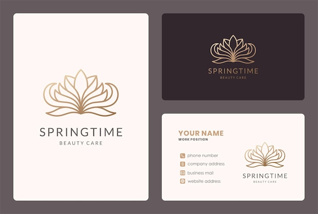 Monolijn lotusbloem logo en visitekaartje ontwerp.