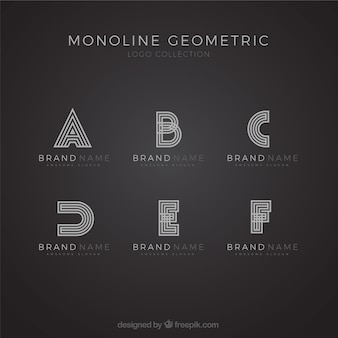 Monoline alfabet logo set