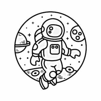 Monoline astronaut vintage badgeontwerp voor buiten premium vector