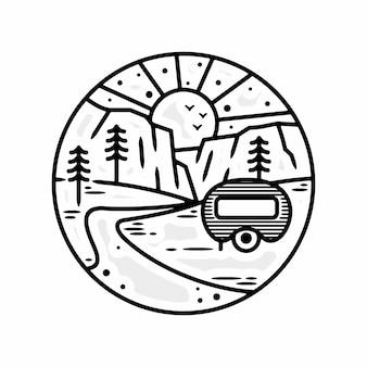 Monoline avontuur vintage camping outdoor badgeontwerp premium vector