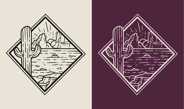 Monoline-badge met woestijnlandschap