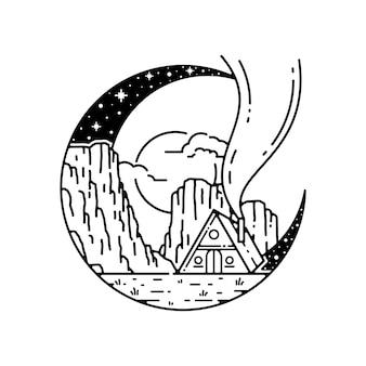 Monoline badge ontwerp voor buiten