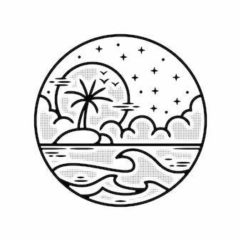 Monoline eiland zonsondergang vintage outdoor badgeontwerp premium vector