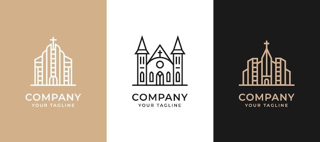Monoline gebouw onroerend goed logo set collectie