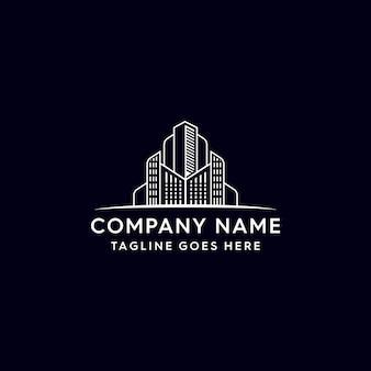 Monoline gebouw onroerend goed logo