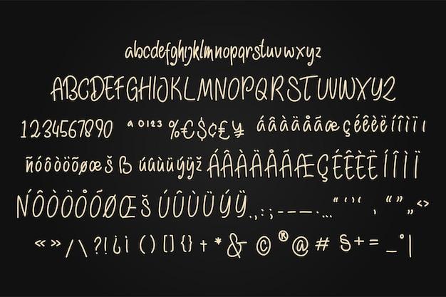 Monoline handgeschreven lettertype vectorillustratie