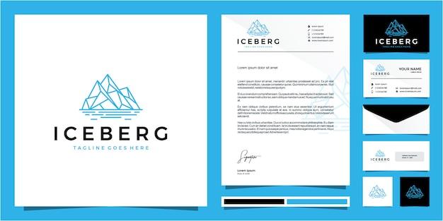Monoline ijsberg logo ontwerp voorraad