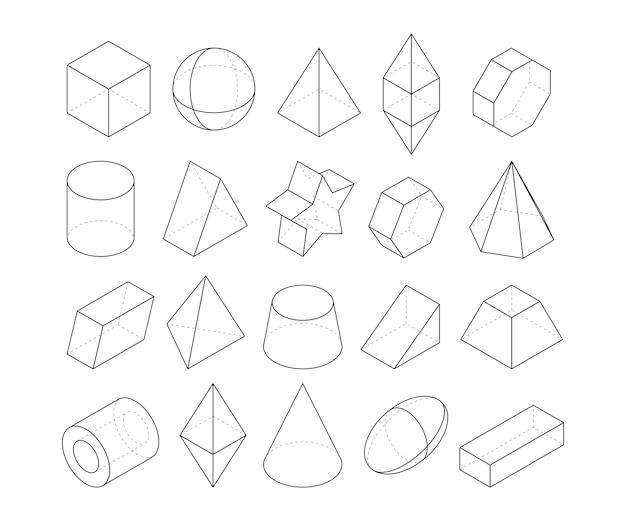 Monoline illustraties. frames van verschillende meetkundevormen. lineaire geometrie figuur veelhoek, octaëder en piramide, geometrische kegel en bol