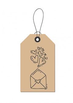 Monoline kalligrafie bloeien harten en envelop over liefde op kraft-tag.