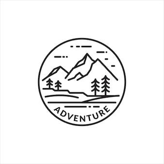 Monoline-logo embleem van bergavontuur