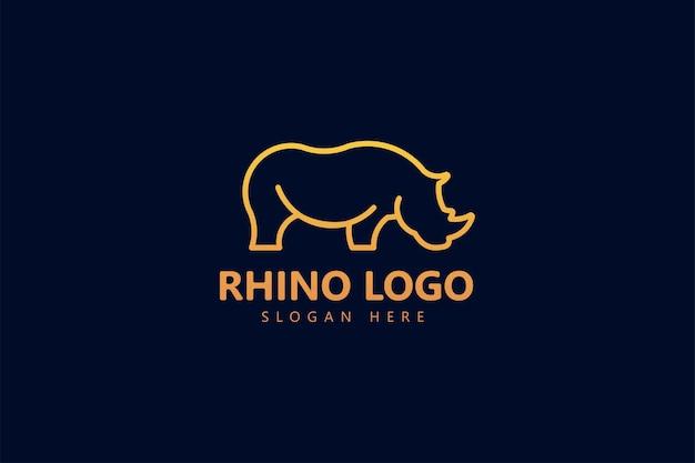 Monoline neushoorn geometrisch creatief logo-ontwerp