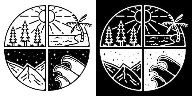 Monoline outdoor badge design avontuur