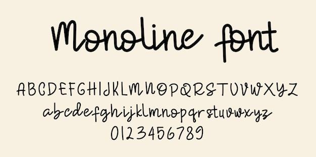 Monoline script lettertype alfabet