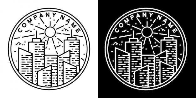 Monoline vintage badge ontwerp stadsgebouw