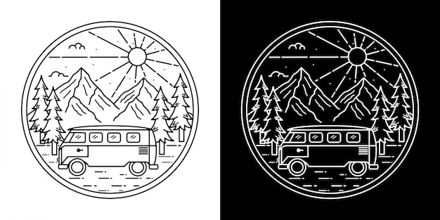 Monoline vintage badge ontwerp