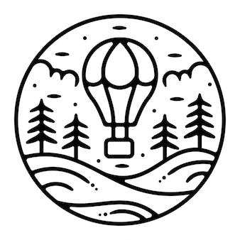 Monoline vintage outdoor badge ontwerp