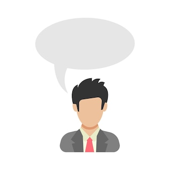 Monoloog. zakenman zegt. man in pak met tekstballon. mensen icoon in platte stijl. vector illustratie