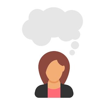 Monoloog. zakenvrouw zegt. vrouw in pak met tekstballon. mensen icoon in platte stijl. vector illustratie