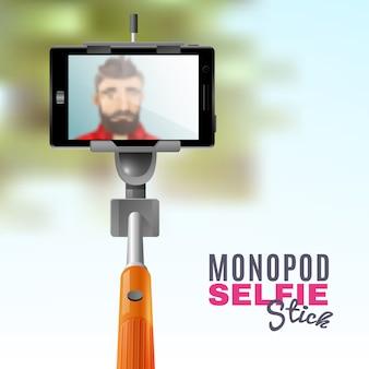 Monopod selfie illustratie